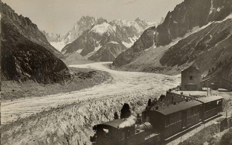 ледник Mer de glace в 1949