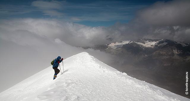восхождение на вершину breithorn, альпы