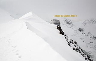 хижина Goûter (3815) и маршрут восхождения на Монблан