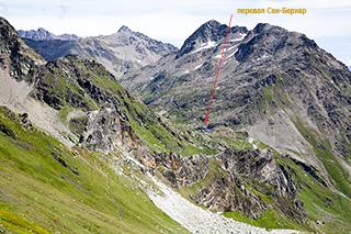 вид с перевала Fenêtre de Ferret на перевал Сен-Бернар
