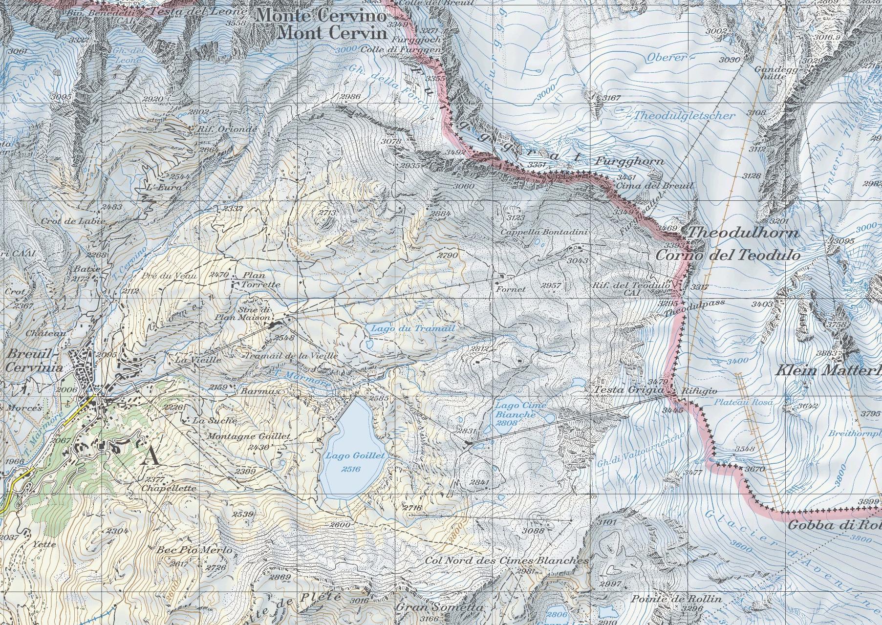 Cervinia Matterhorn, карта скачать