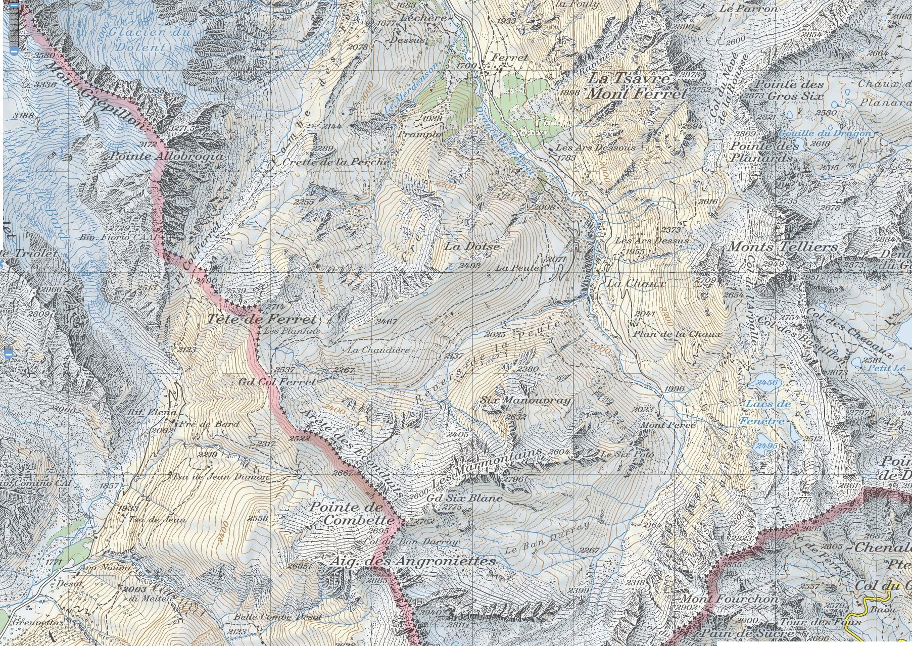 карта перевал Ferret, перевал Fenêtre de Ferret, перевал Сен-Бернар скачать
