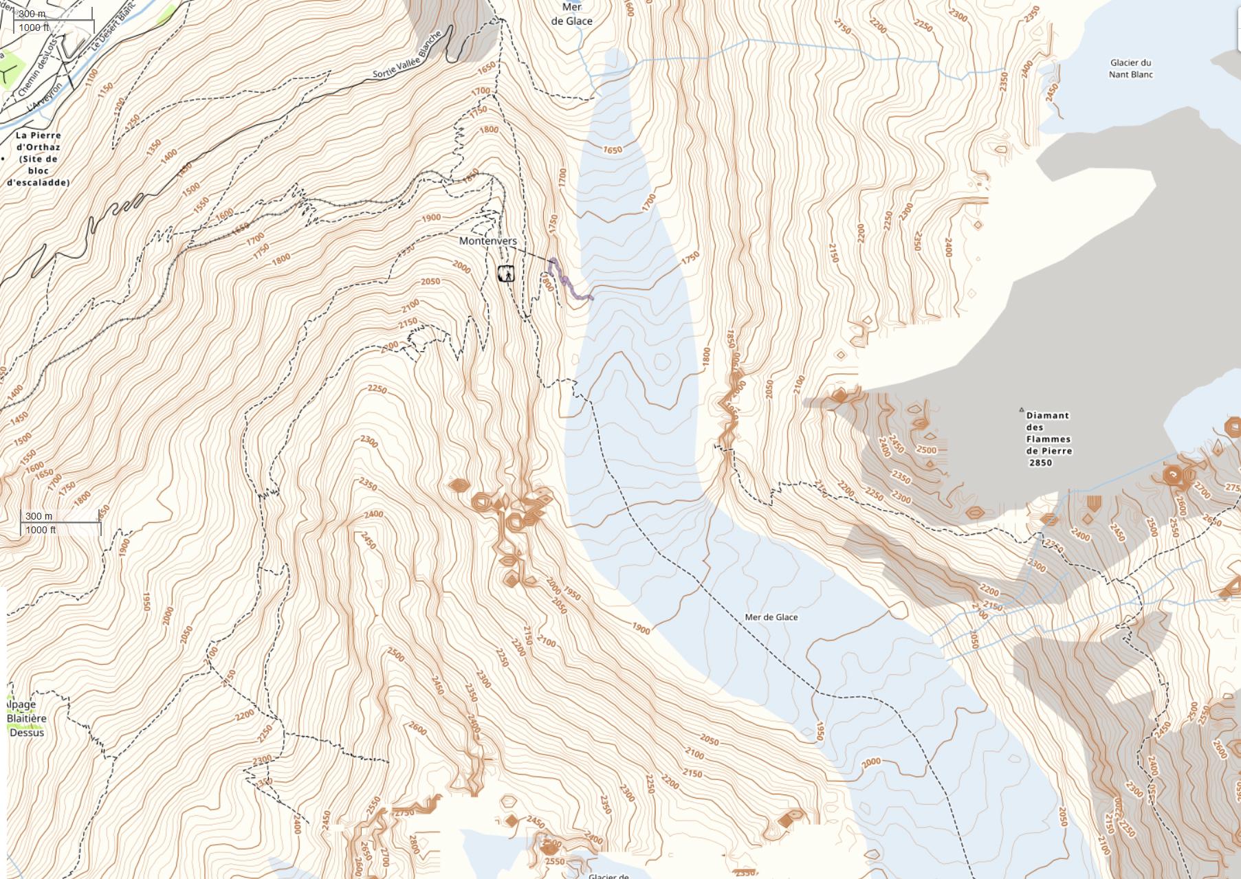 карта долины Mer de glace, скачать
