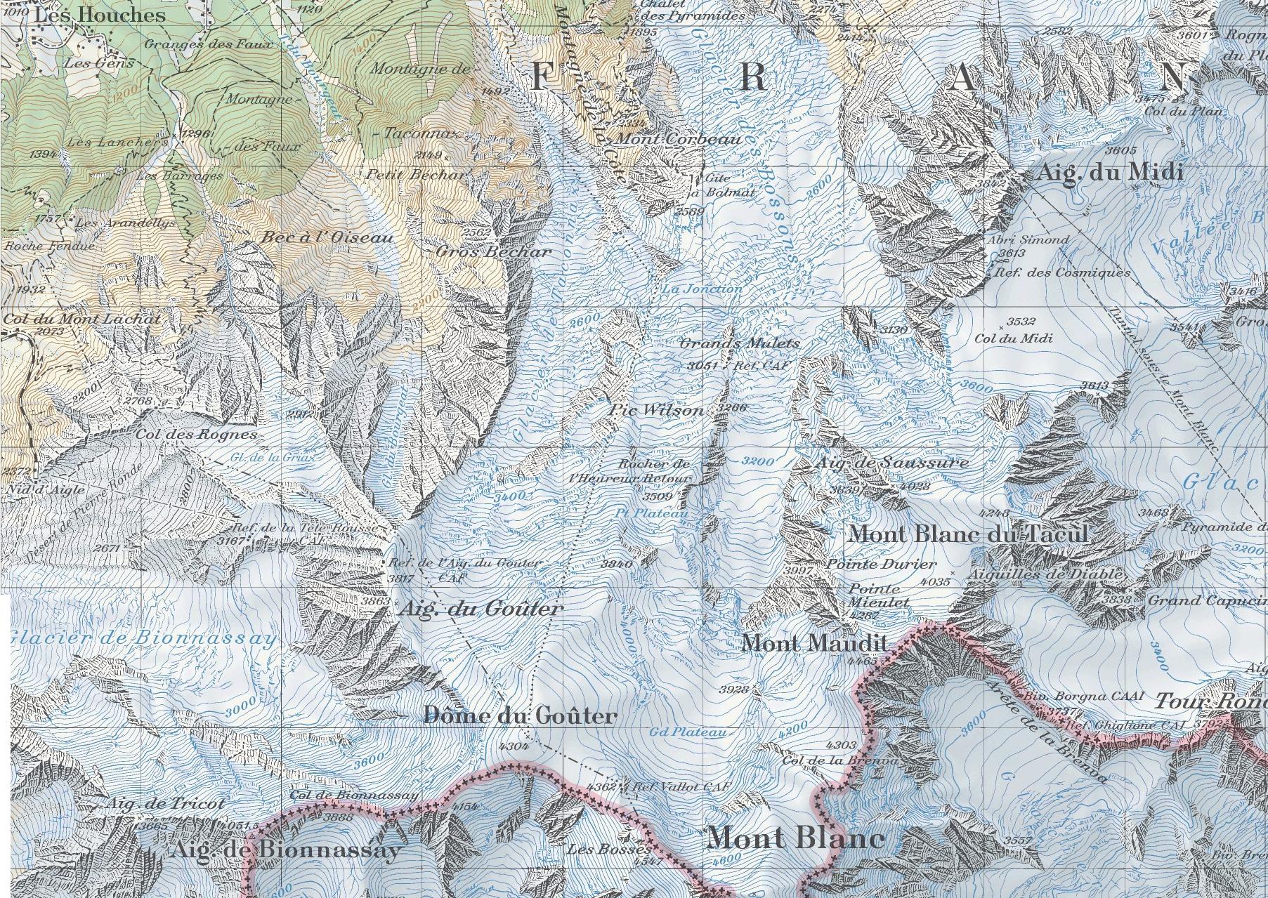 Монблан Aiguille du Midi, Tête Rousse карта скачать