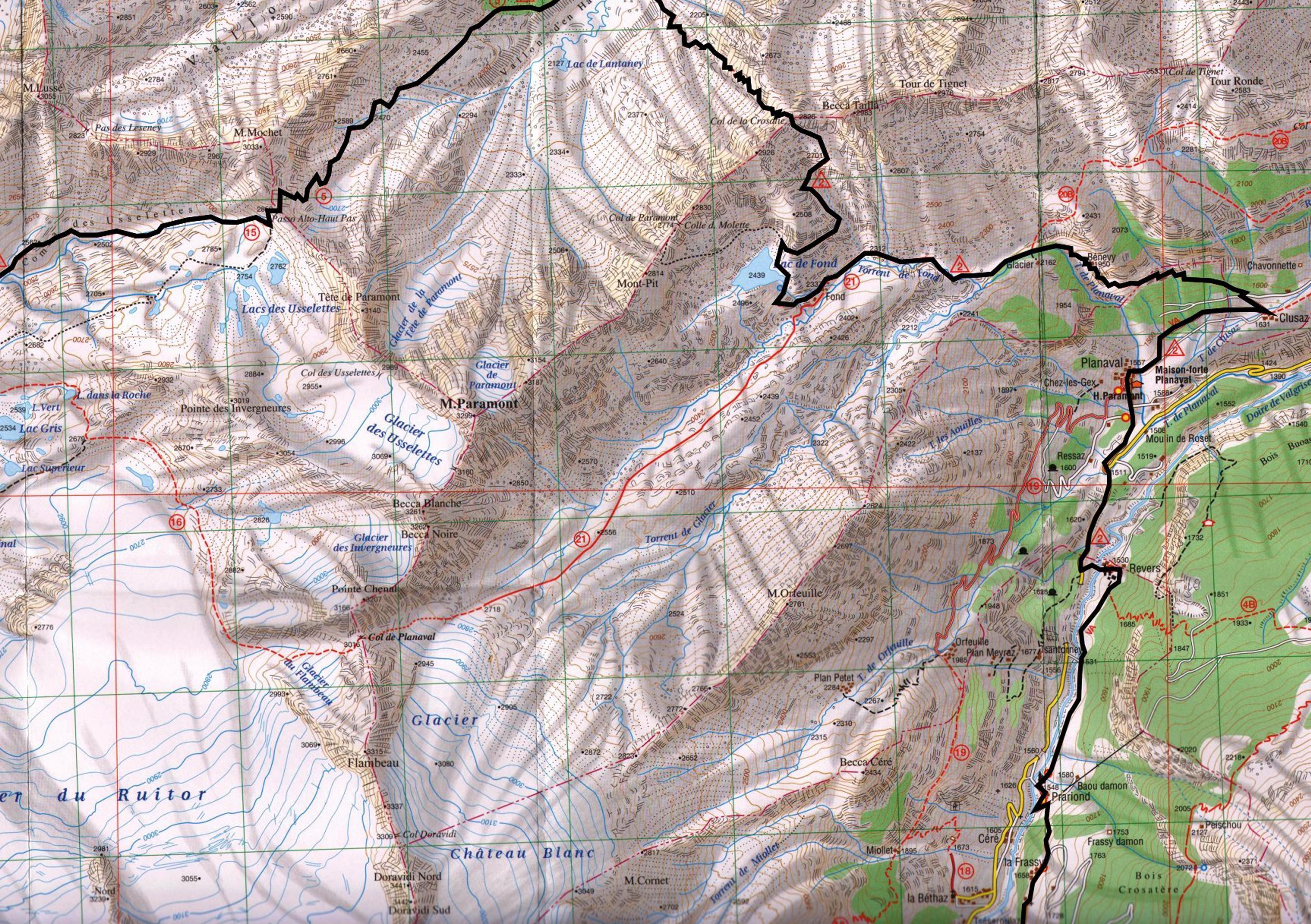 Aosta, Planaval, Rutor, карта скачать