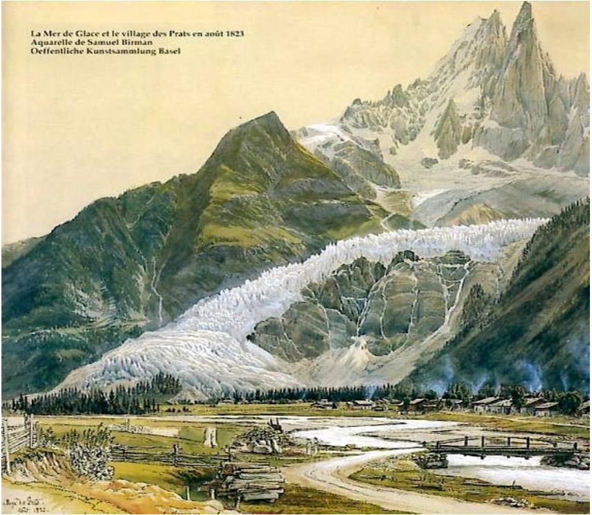 ледник Mer de glace в 1823