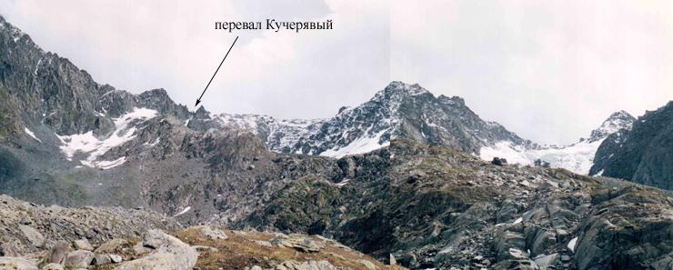 перевал Кучерявый (1Б) с левобережной морены ледника Геблера