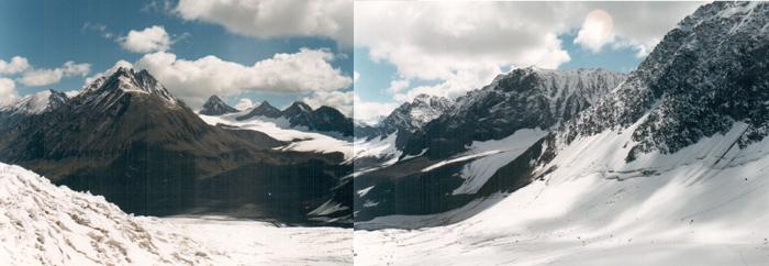 ледник Куркуре, вид с западного фирнового плато. Алтай, отчет