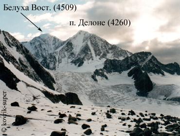 вид с восточной ветви ледника Менсу на вершины Белуха Восточная (4506) и Делоне (4260). Алтай, горный поход