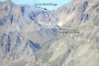 col du Mont Rouge, col de Lire Rose, вид с перевала de Crete Seche