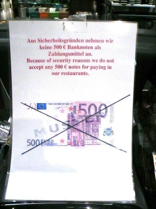 не берут купюры в 500 евро