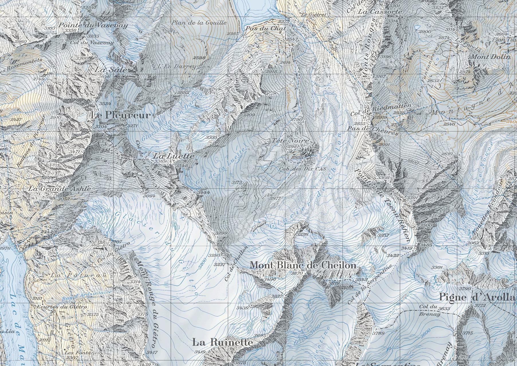 карта Col de Cheilon, хижина Dix, перевал Pas de Chevres, Riedmatten скачать
