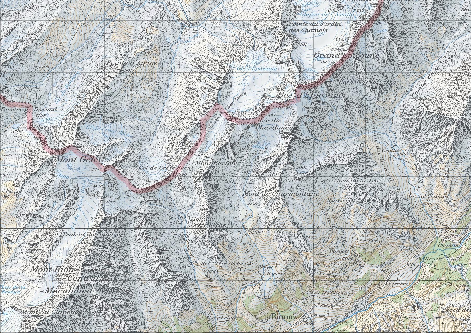 карта Bionaz, перевал Crête Sèche