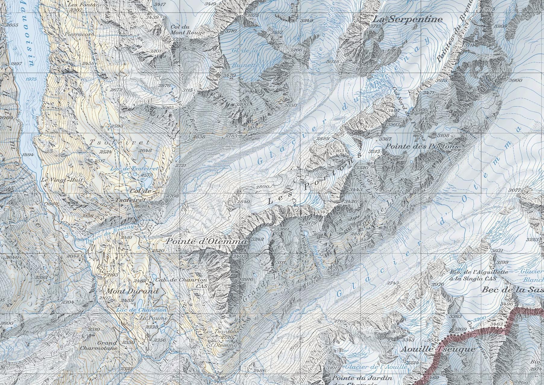 карта перевал Crete Seche, хижина Chanrion скачать