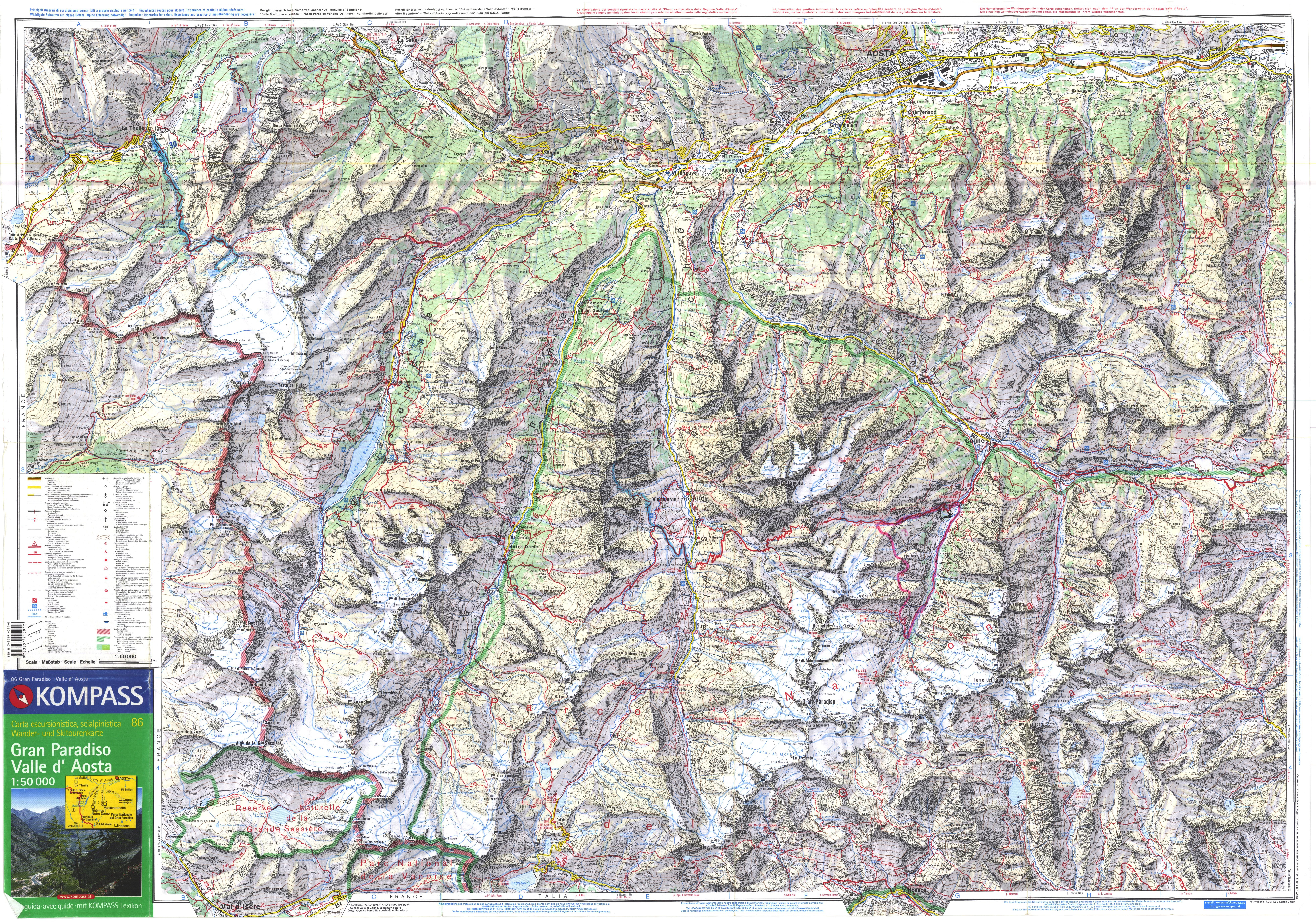 карта национальный парк Gran Paradiso, скачать