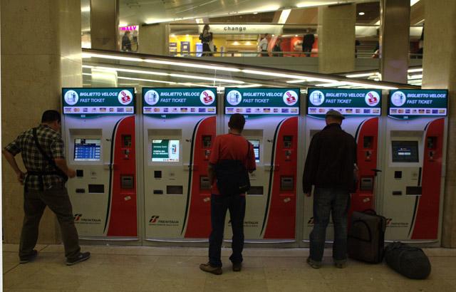 автомат по продаже билетов в Италии