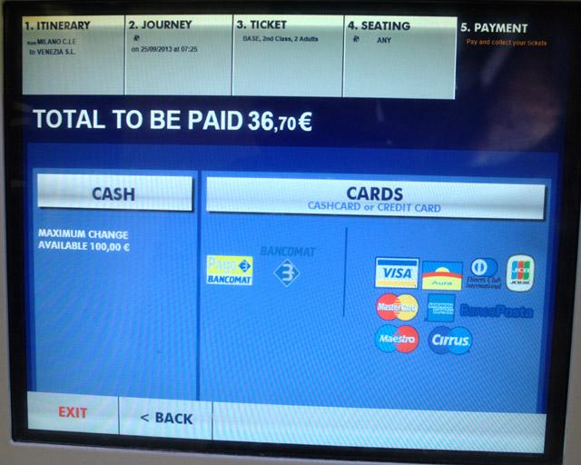 купить жд билет на вокзале в Италии