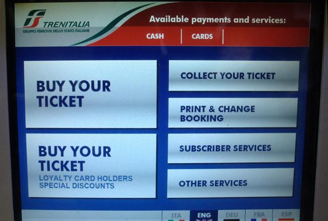 Как купить жд билет в автомате. Италия