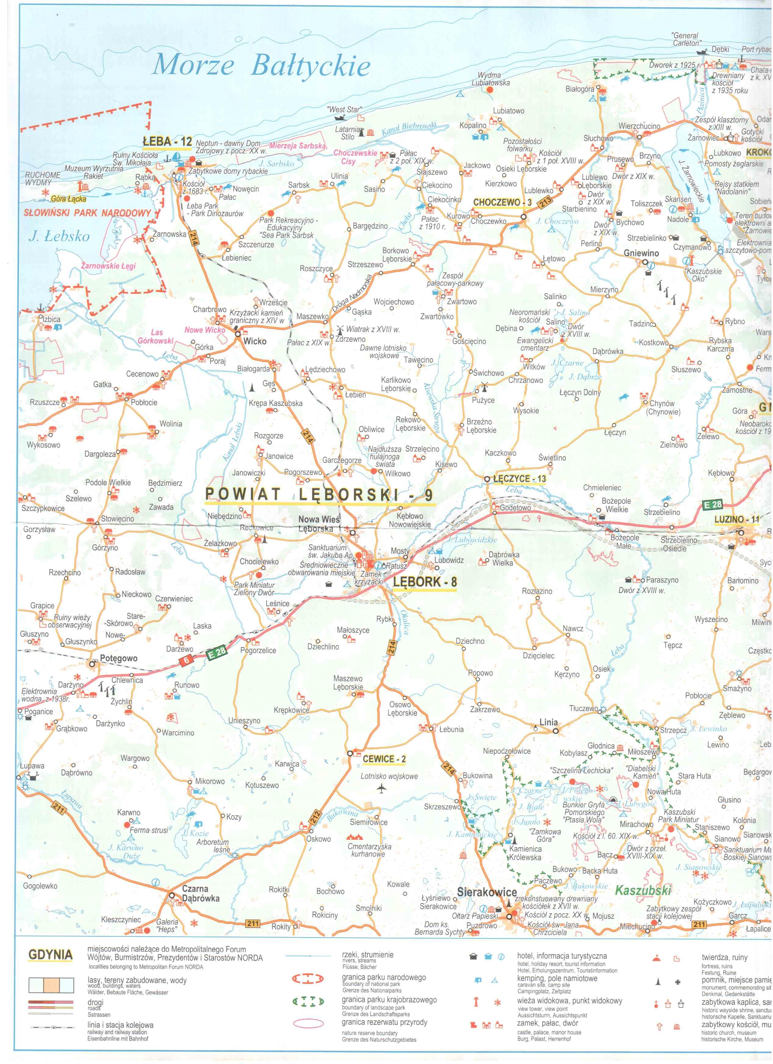 Гдыня Сопот Хель карта велодорожек Leba Lebork